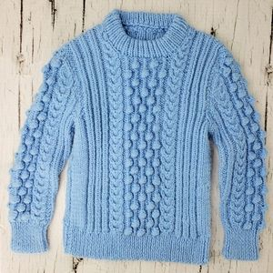 Other - ❄ 3/$20 Handmade Baby Blue Bauble Knit Sweater